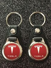 TESLA keychain 2 piece FOB LOGO ELECTRIC CAR 2 PACK
