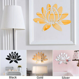 3D-Lotus-Flower-Mirror-Wall-Sticker-Acrylic-Art-Mural-Home-Room-Decor-Removable