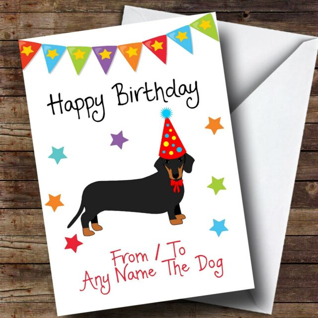 To From Dog Dachshund Personalised Birthday Card