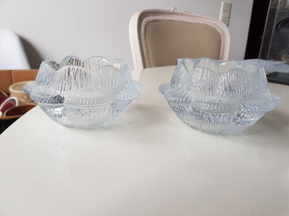 Glas, Fyrfadsstager, 2 store åkander