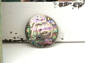 Old-Mrxico-Sterling-Silver-925-Abalone-Shell-Aztec-Mayan-Inca-Tribal-Pin-Pendant