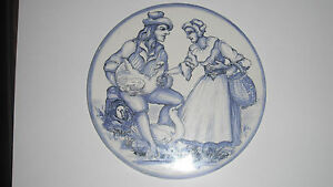 Imported From Abroad H & R Johnson Handpainted Blue & White Tile 'the Goose Seller' By M Downs 1977 Ideal Gift For All Occasions Tiles Antiques