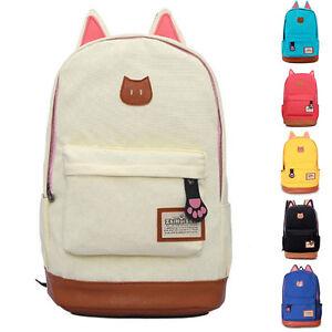 Girl-Canvas-Shoulder-Bag-Bookbag-Backpack-School-Travel-Satchel-Rucksack-Handbag