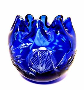 Cobalt-Blue-Rose-Bowl-Cut-to-Clear-Crystal-Art-Glass-Czech-Bohemian-Ruffle-Top