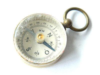 Antique Miniature Brass Magnetic Compass Pendant Maritime Pocket Compass, Spain