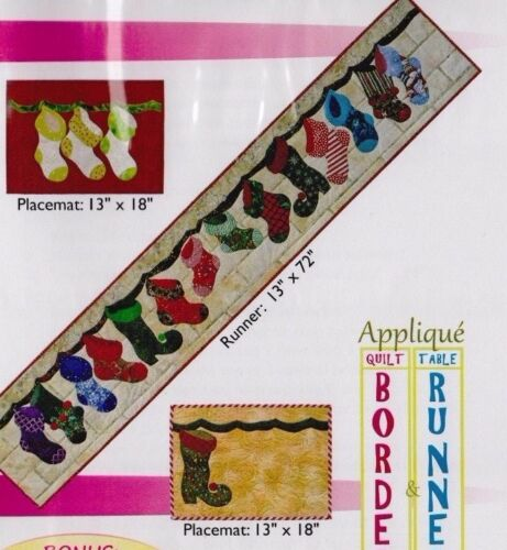 PATTERN Christmas Socks applique runner or placemat PATTERN