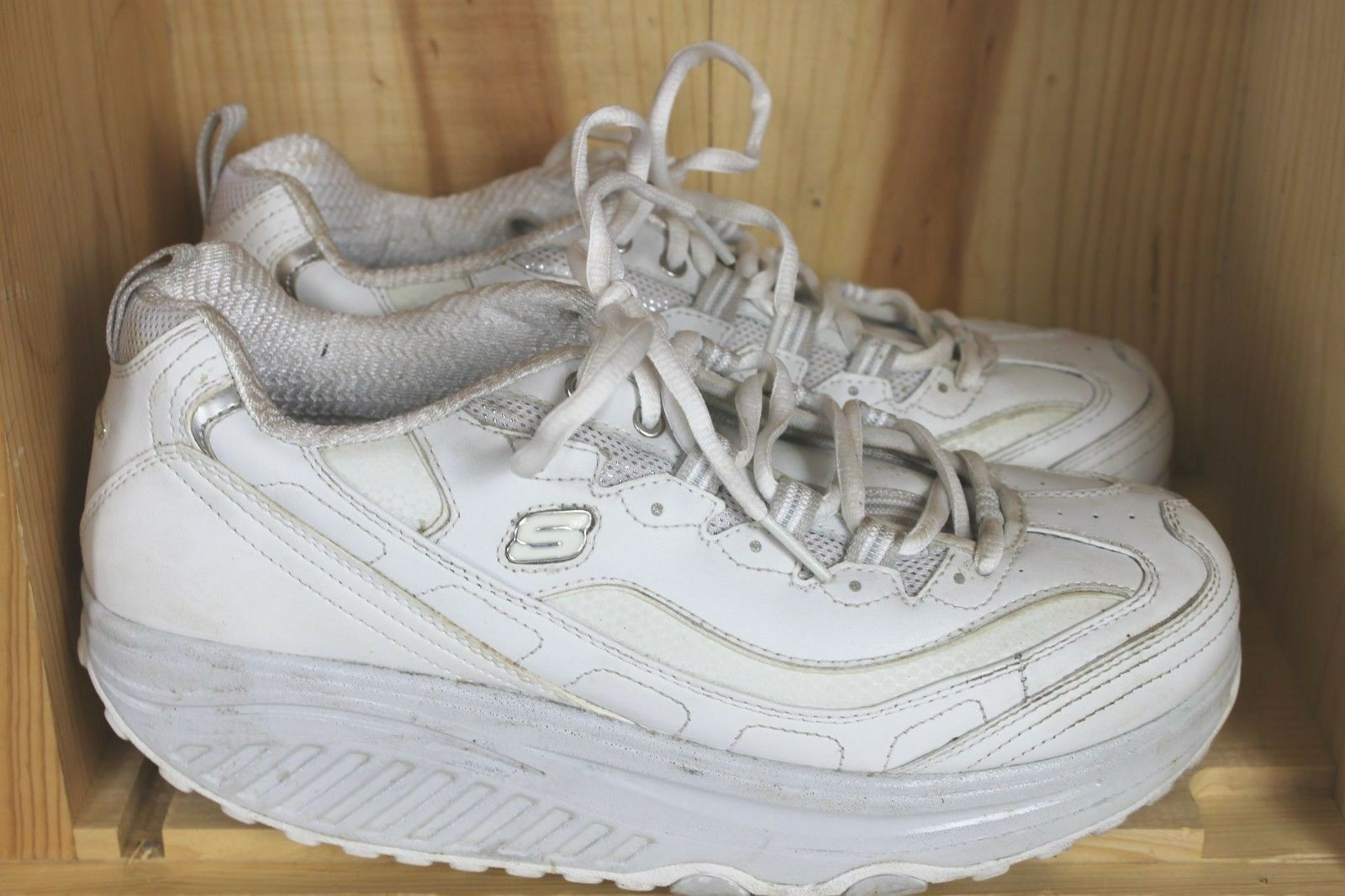 Skechers Shape Ups Leder Fitness Athletic Schuhes Weiß Leder Ups sz 9.5 Damenschuhe 11800 986c89