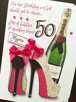 Hand-Made Personalised 'Bubbles & Sparkley Shoes '  ANY AGE Birthday card