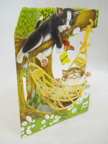 HAMMOCK KITTY CATS Greeting Card 3-D  Swing Card by Santoro Graphics 83