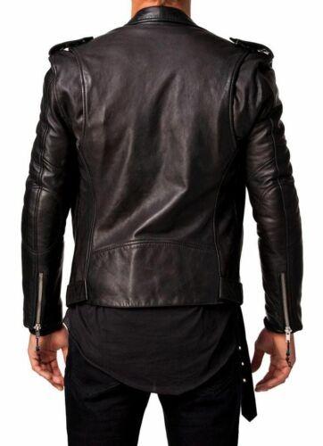 Fit Biker Genuine Black Jacket Mens Leather Lambskin Slim HXWSI