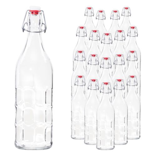 20-tlg Bügelflaschenset Moresca 1L Glasflakon edle Retro-Karaffe Wabenstruktur