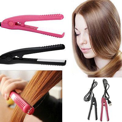 Portable Mini Ceramic Hair Straightener Curler Flat Iron Perm Splint Hair Beauty