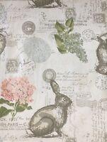 Envogue Bunny Rabbit Floral Script Cloth Napkins Set 4 Easter Blue Pink