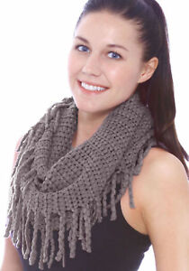 Women-Solid-Knitted-Warm-Winter-Fringe-Infinity-Scarf-Knit-Cable-Circle-Scarves