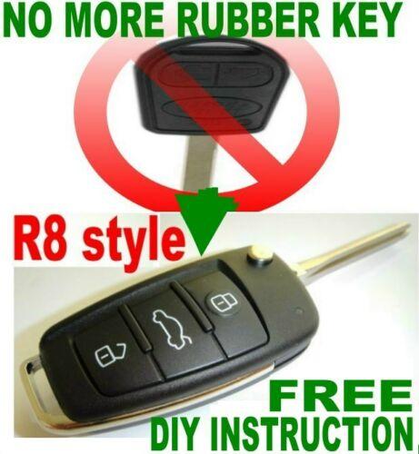 UPGRADE RANGE ROVER RUBBER REMOTE TO R8 STYLE FLIP KEY REMOTE CHIP TRANSPONDER