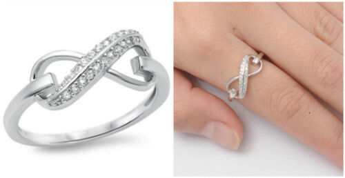 Sterling Silver 925 INFINITY KNOT LOVE DESIGN CZ PROMISE RING 8MM SIZES 4-12