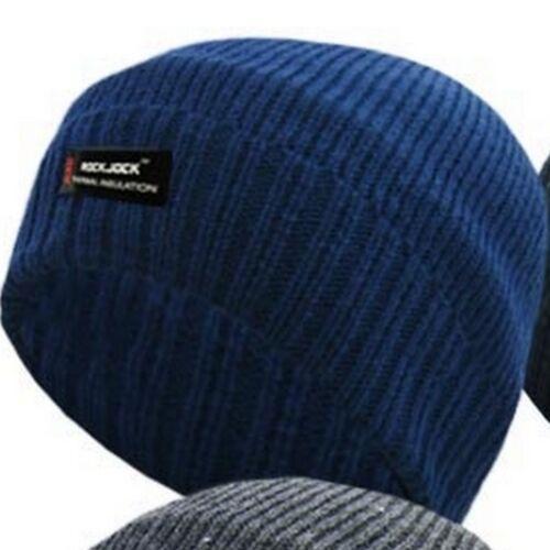 Homme Thermique Bonnet ROCKJOCK Fine Rib polaire doublé hiver Ski Chapeau