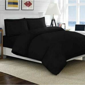 Premium-Bedding-Collection-1000-TC-100-Egyptian-Cotton-All-Sizes-Black-Solid