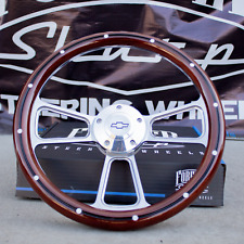 14 Billet Steering Wheel For Chevy Mahogany With Rivets Amp Chevy Horn Button
