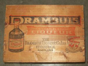 Vintage DRAMBUIE LIQUEUR   Whiskey Wood Crate Box Scotland