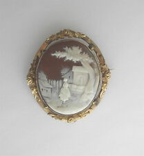 Vintage Shell/Stone Carved CAMEO Pin in GF Ornate Frame~~Maiden in Village