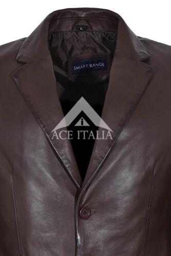 Blazer CLASSICO UOMO MARRONE MORBIDO su Misura in Pelle Nappa Reale Giacca Cappotto 9124