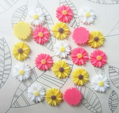 DIY 20pcs Mix Resin Sunflower flower flat back Scrapbooking For phone/ craft