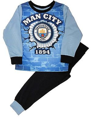 Manchester City Football Zip Up All In One Pyjamas Sleepsuit Age 9-10 Years.
