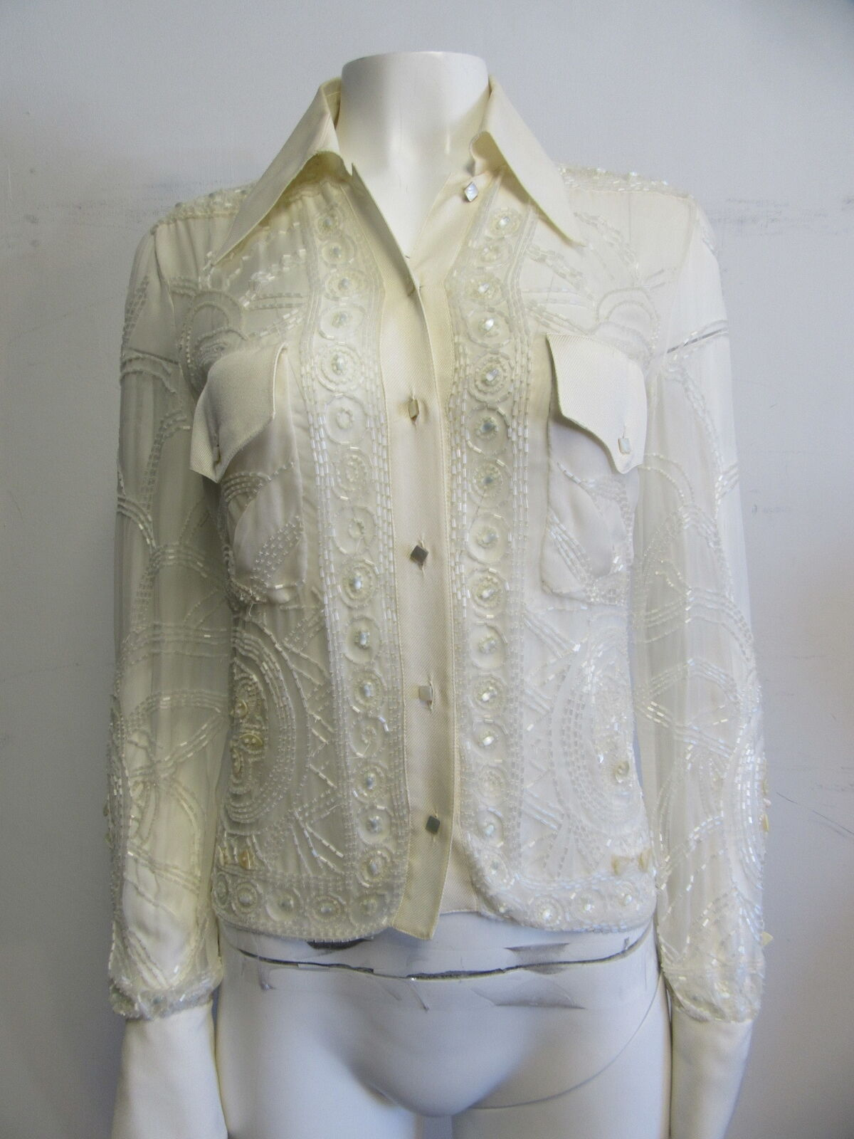 VALENTINO silk ivory sheer beaded button- down blouse sz 6
