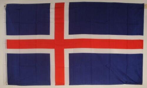 Island Flagge 90 x 60 cm wetterfest Fahne Ösen Innen /& Außen Hissflagge