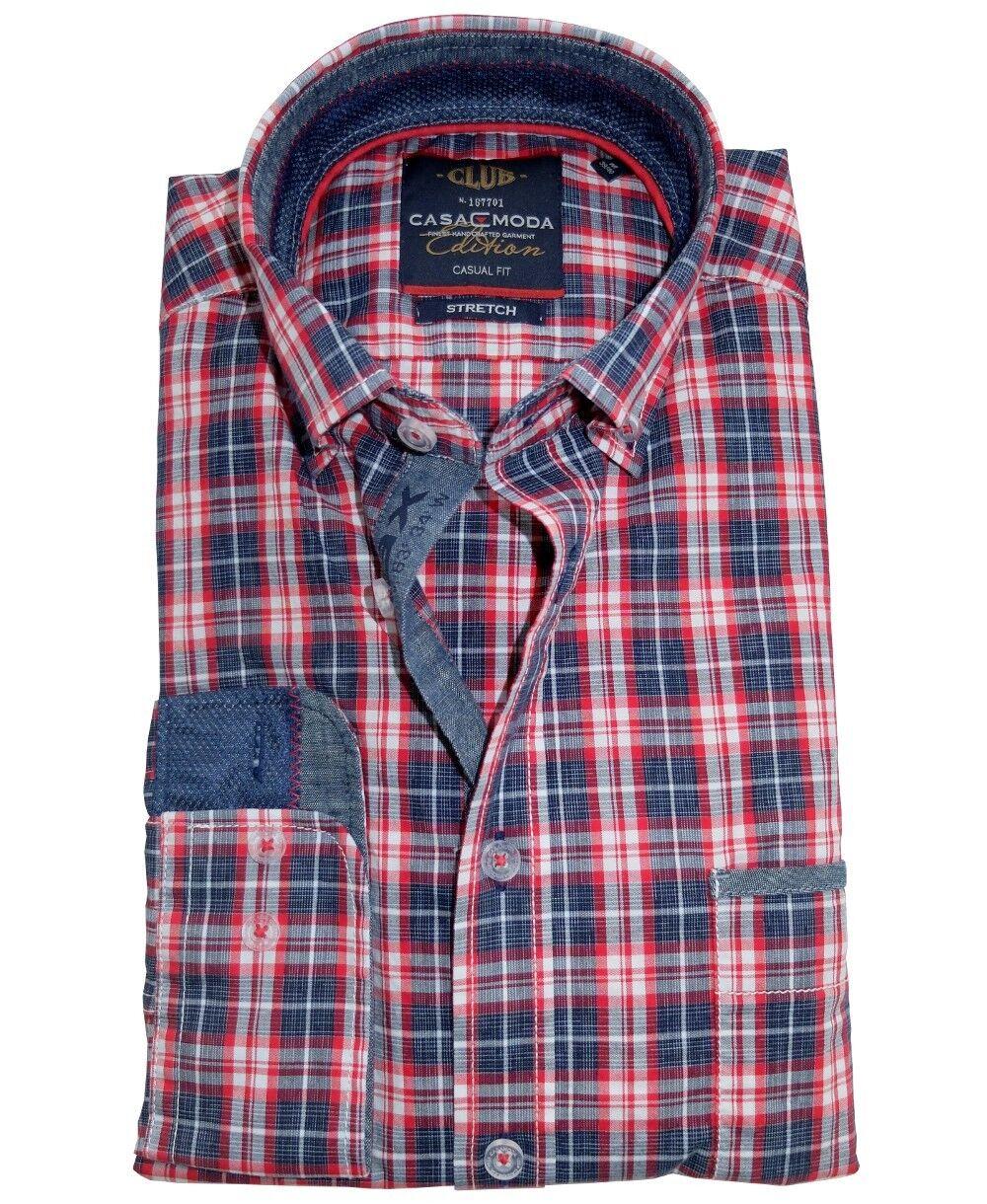 Casa Moda Casual Fit Stretch Freizeithemd Langarm in blue red weiss Karo M - 7XL