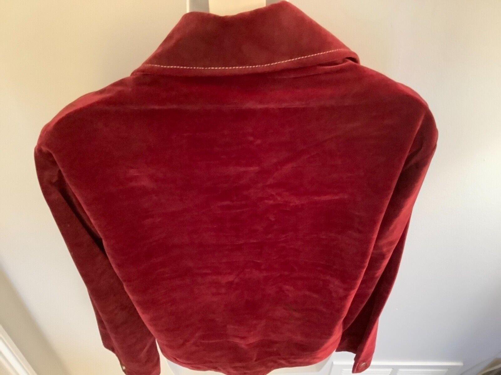 VINTAGE Women's Burgundy Red Velvet Blazer Jacket… - image 6