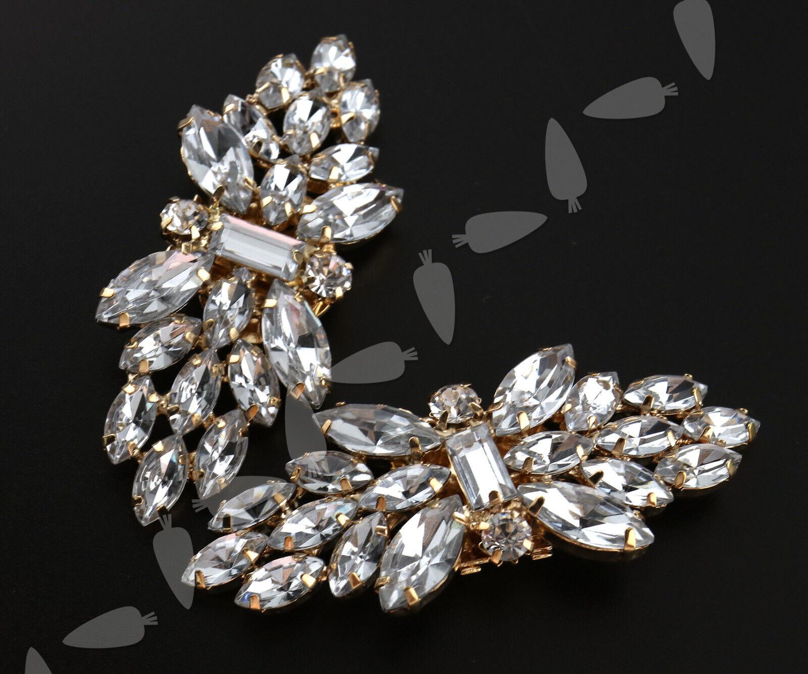 Crystal Rhinestone Shoe Clips Bridal Wedding Party Shoe Accessory Flower Design