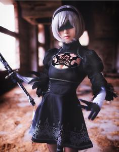 NEW Anime NieR:Automata 2B Uniforms Black Cosplay Costume + Sock APRG Dress
