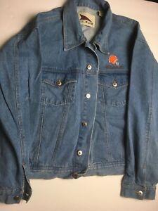 Vintage-Cleveland-Browns-Blue-Jean-Jacket-Mens-Pro-Elite-LARGE