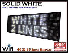 40x15 Inch White Wifi Semi Outdoor Indoor Led Scrolling Sign Super Fast Ship