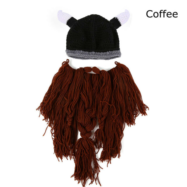 Cool Men Viking Horns Bearded Knit Caps Head Beard Hat Barbarian ... e2669ad761f