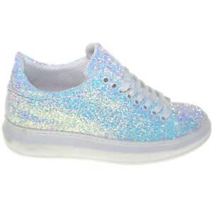 Dettagli su Sneakers bassa donna glitter bianca in vera pelle fondo alto bianco queen riflet