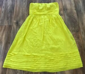 J-Crew-Women-Dress-Citron-Party-Dress-Strapless-Wedding-Dress-100-Silk-Size-10