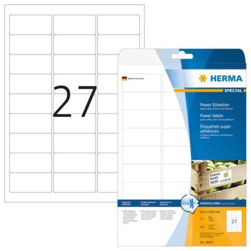 HERMA 10903 Etiketten A4 63,5x29,6mm extrem stark haftend 675 Stück matt weiß