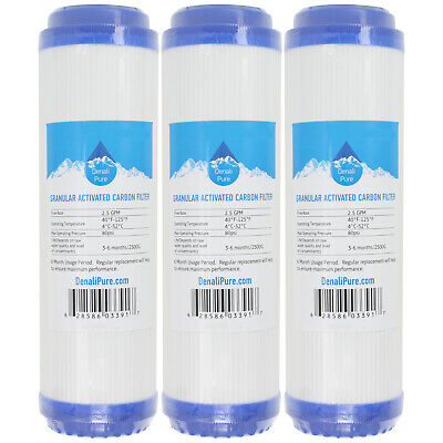Universal 10-inch Cartridge Compatible with Aqua Pure AP101T Whole House Water Filter 4-Pack Replacement for Compatible with Aqua Pure AP101T Granular Activated Carbon Filter Denali Pure Brand