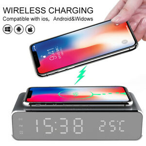 Wireless Electric Led Alarm Clock W Phone Charger Desktop Digital Thermometer Ebay