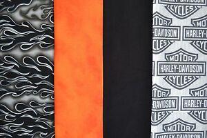 1 yd ea. HARLEY DAVIDSON Logo, Orange, Black Flame & Black Quilt ... : harley davidson quilting fabric - Adamdwight.com