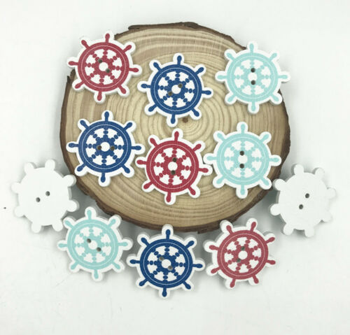 Ocean Wooden Buttons Rudder 2 Holes Fit Sewing scrapbooking DIY 30mm