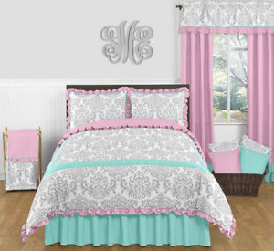 Image Is Loading Sweet Jojo Designs Blue Pink Grey Damask