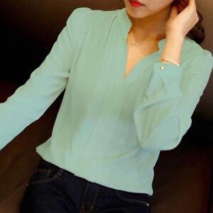 Women-V-Neck-Chiffon-Shirts-Office-Lady-Long-Sleeve-Casual-Blouse-Tops-T-Shirt