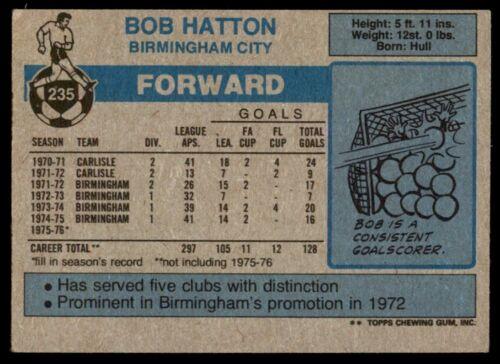 Topps Football Blue//Grey 1976 Bob Hatton Birmingham City No B1 235