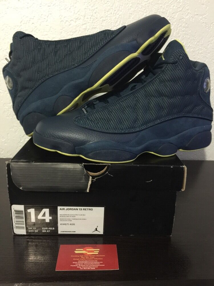 New Uomo Nike Air Jordan XIII 13 Retro Squadron Blue 414571-405 DS Size 14