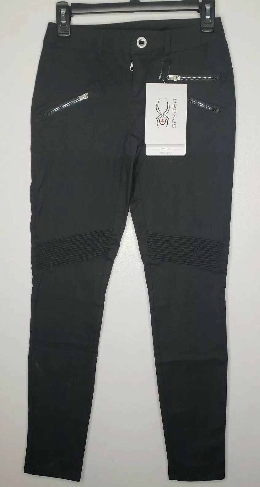 Sexy modern Spyder brand women's pants NWT Hyde Pant  size 2 BLK MSRP