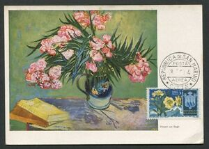 SAN-MARINO-MK-1954-FLORA-OLEANDER-MAXIMUMKARTE-CARTE-MAXIMUM-CARD-MC-CM-d8006